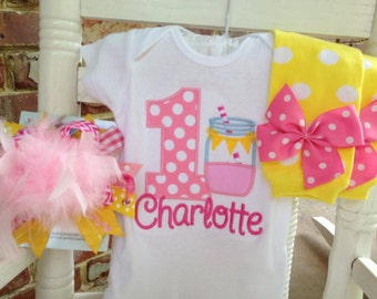 Baby Girl First Birthday Outfit -- Pink Lemonade -- bodysuit, leg warmers, Over The Top bow in hot pink, pink & yellow mason jar
