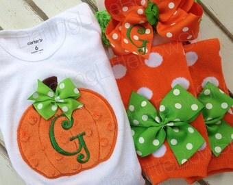 Baby Girl Pumpkin Outfit -- Pretty Little Pumpkin -- bodysuit, monogrammed bow, headband and leg warmers