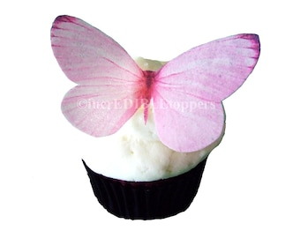 12 Edible Butterflies -  Large PInk -  Cake Decorations - Cake Topper - Butterfly Cupcake Toppers
