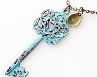 valentines gift, rustic skeleton key necklace, heart key, rustic wedding jewelry, personalized bridesmaid gift necklace, long necklace