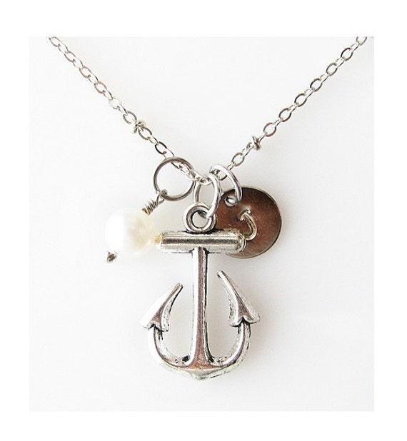 bridesmaid gift beach lover gift, nautical wedding anchor necklace beach jewelry, summer necklace, love sailing gift, nautical ocean jewelry