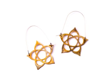Hidden Pentacle, Unique, Brass Dangly Alternative to Hoop Earrings with Sterling Silver Earwires