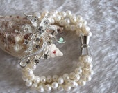 """Pearl Bracelet -8"""" Inches 5-6mm 3Row White Freshwater Pearl Bracelet XC- Free shipping"""