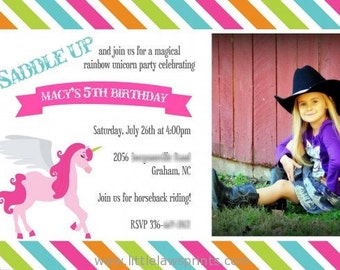 Rainbow Unicorn Invitations
