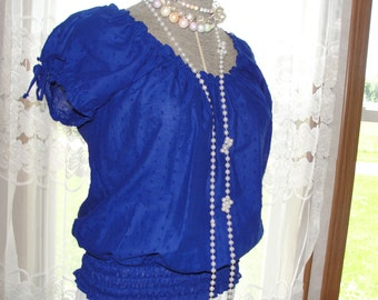 Gypsy boho bohemian Peasant top in blue dotted swiss