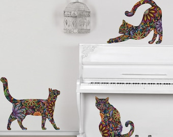 Cat Decals - Set of 3 Cat Wall Stickers - Peel and Stick Decals