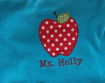 Personalized/ monogrammed School/teacher apple applique