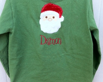 Christmas personalized Santa Clause appliqued t-shirt