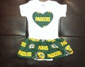 Green Bay Packers Heart Onesie Dress