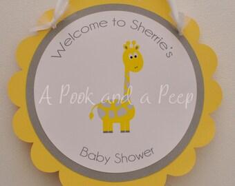 Yellow Gray Giraffe Custom Personalized Baby Shower or Birthday Sign