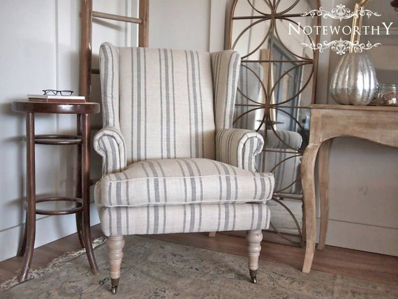 Light Gray Linen Dining Chairs: Gray Striped Linen Wingback Chair