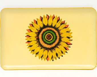 serving tray, platter, sunflower, yellow, orange, floral, mid century, shabby chic, retro, wall hanging, vintage kitchen, feminine
