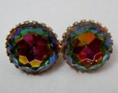 Vintage Ann Vien Rivoli Rhinestone Clip Earrings