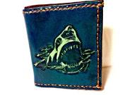 Shark!Jaws Geekery,Shark Week,Men's Leather Wallet,Sharknado,Geek Gift,Shark Gift,Boyfriend Gift,Cool Gift,Holds 8 Credit Cards,1 Bill Slot