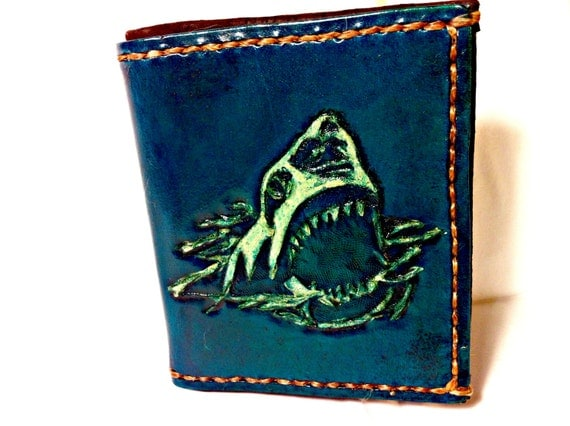Shark! Jaws - Shark Week - Shark Wallet - Shark Tooth - Sharknado - Geek Gift - Shark Gift - Boyfriend Gift.Holds 8 Credit Cards,1 Bill Slot