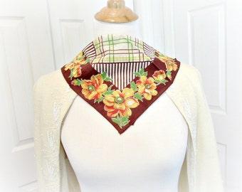 Vintage Ladies Hankie Handkerchief, Brown Yellow Handkerchief, Floral Flower Handkerchief, Print Hankerchief, 1970s Summer Autumn Decor