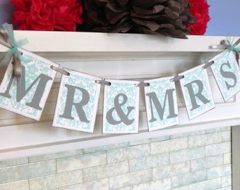 Wedding Decorations , Damask MR and MRS Banner, Wedding Garland, Mr & Mrs sign, Photo Prop, Mr and Mrs Garland, You Pick the Colors