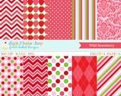 strawberry digital papers argyle polkadots polka dots stripes - Wild Strawberry Digital Papers