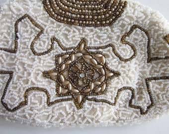 Vintage Beaded Purse, Vintage Clutch,Pearl, Amber Beads,Rhinestone Center, Elegant Charm, Star Pattern Beaded Purse, Intricate Beading