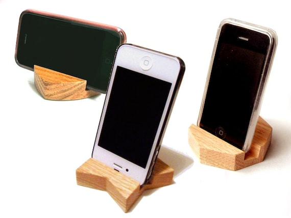 Heart / Star / Octagan Wood Stand for iPhone, iPad, Galaxy S, Galaxy Tab, Galaxy Note, cell phone, gadget - Solid Oak Dock - Ready to ship
