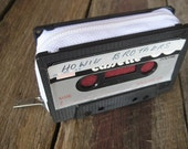 mens wallet - retro and ecofriendly cassette case, handmade from recycled mixtape, Black & White, Silver, Burgundy, OOAK // womens unisex