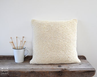 Chunky Knit Cushion | Hand Knit Wool Cushion Pillow Cover |  The Voyager | CREAM | 50cm/20""