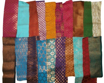 Indian Silk Brocade Scrap Bundle (24 pieces)