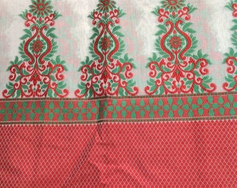 One yard creme chanderi cotton silk with a red and green pattern