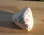 SALE Retro gem stone painting watermelon tourmaline in matrix paperweight decoration pixel gems pink white green stone