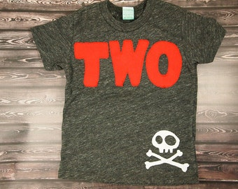 Pirate Birthday Shirt, pirate party, pirate birthday, pirate invite,  Boys Tee,  Organic Blend Burnout Tee Skull and Crossbones