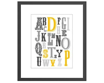 Art print for newborn boys nursery baby or kids room of alphabet with vintage lettering. Great baby shower gift for new moms!