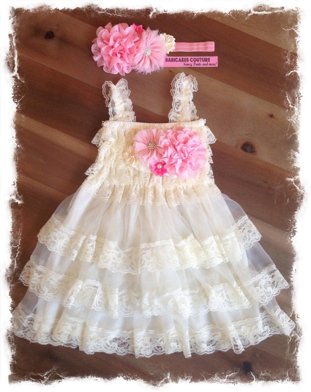 Ivory Lace Flower Girl Dress & Headband Rustic Flower Girl