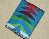 Arrow turquoise Wallet - mens or womens handmade Wool fabric casual slim wallet card case colorful tribal arrows hip trendy wallet