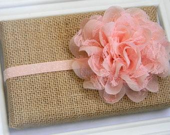 Peach Lace Headband, Baby Peach Headband, Infant Headband, Peach Chiffon Headband