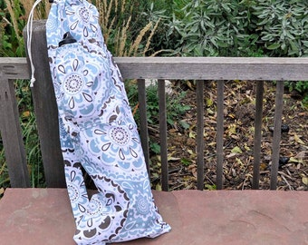 Yoga mat bag, Water bottle pocket, Mint and Chocolate Medallions, Eco-friendly Upcycled