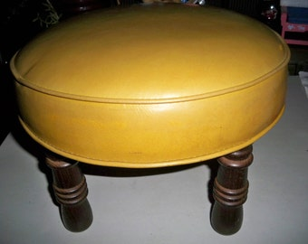 Vintage Mid Century Gold Colored Foot Stool