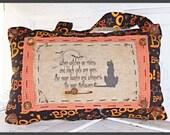 Folk Art Grungy Halloween Witch Boo Cat Pillow Wall Hanging Decor