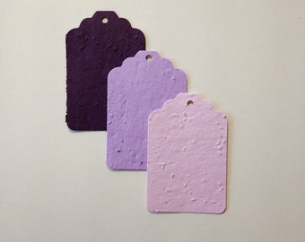 Plantable seed paper tags - 12 plantable seed paper tags - purple haze ombre in pastel pink, lavender, and purple