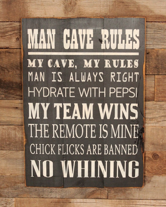 Large Man Cave Signs : Items similar to large wood sign man cave rules subway