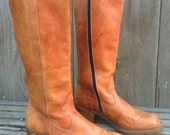 Vintage Fabulous Unisex 70's Brown Leather Tall Campus Boots