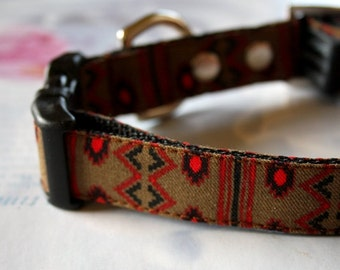 Khaki Brown Southwest Dog Collar