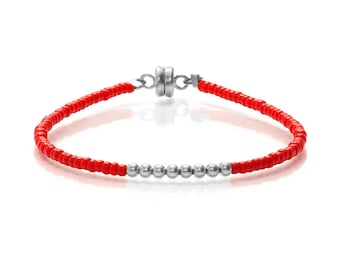 Delicate Tiny Brilliant Red& Small Silver Beaded Friendship Bracelet