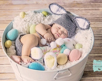 Dark Grey and White Easter Bunny Crochet Hat and Diaper Cover - Photo Prop - Available in Any Size or Color Combination