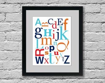 Alphabet Nursery Print: YOU PICK COLORS (11x14) Nursery Wall Art