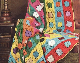 INSTANT download 414. Beautiful crochet Blanket  Granny Squares flower Afghan  Throw Crochet Pattern  - PDF - USA