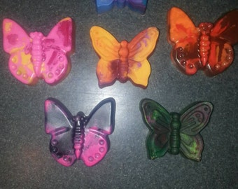 Recycled Crayons. Butterfly. Butterfly Crayons. Kids Crayons. Party Favors. Set of 6 Crayons. Rainbow Crayons.