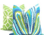 Trina Turk Peacock Designer  Indoor Outdoor Pillow Cover, Schumacher, Square, Euro or Lumbar Pillow Cover