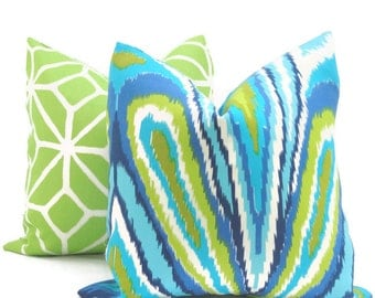 Trina Turk Peacock Designer  Indoor Outdoor Pillow Cover, Schumacher, Square, Euro or Lumbar Pillow Cover