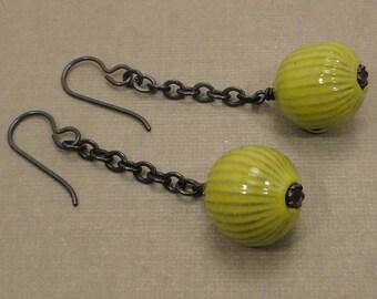 Bitter Green Torch Fired Enamel Earrings