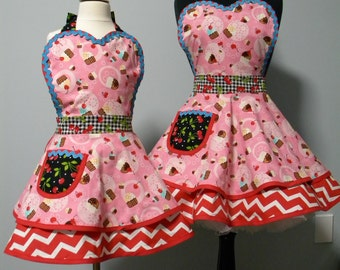 APRONS-The Cherry Gingham Cupcakes Mother/Daughter Flounce Aprons